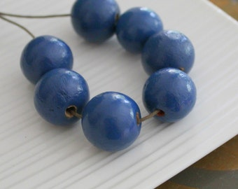 Dark Blue Painted Wooden Beads x 7, Large Beads, Chunky Beads, African Design, Tribal Design