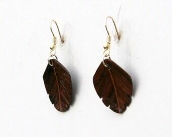 Handcarved Burmese Blackwood   Leaf / Feather Earrings  J150216