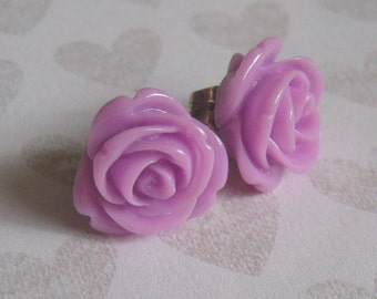 Tiny Lilac Vintage Style Resin Rose Stud Earrings