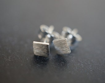 Minimalist Geometric Matte Finished Square Sterling Silver Stud Earrings - approx. 4mm - 1 pair