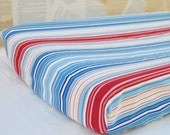 CHANGING PAD COVER / Nautical cotton print /  Red and blue stripes / Elastic hem /