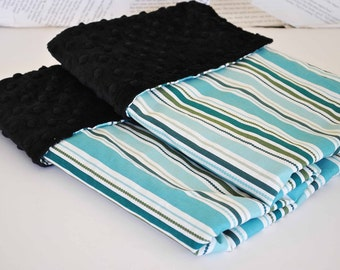 CLEARANCE SALE !!!  Baby Blanket /  Aqua, green  stripes cotton fabric / Black minky dimples / Soft comfy blanket /   Luxury for boys