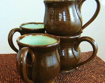 Pottery Mugs - Large Coffee Mugs - Set of 4 Stoneware Ceramic Cups in Chocolate Mint