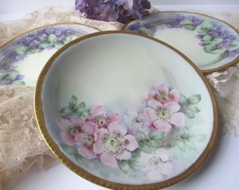 Vintage Limoges Floral Plates French Pink Purple Set of Three