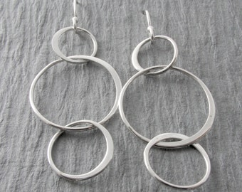 Simple Circle Earrings Modern Earrings Silver Dangle Earrings Everyday Earrings Mother's Day Gift Holiday Gift