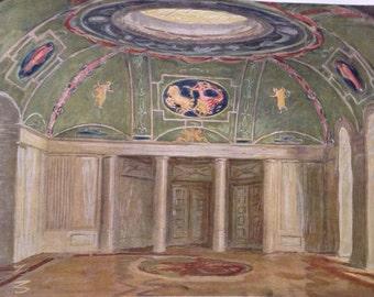 1923 antique vintage print-  architectural interior rendering - O. Muller-Jena