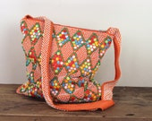hippies and argyle and beads, vintage 1970s BRIGHT ORANGE crossbody shoulder bag - satchel, purse, tote