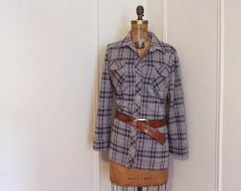 autumn's plaid - vintage 1970s taupe, gray, and deep purple flannel shirt - woodland, lumberjack, plum, grunge, jacket