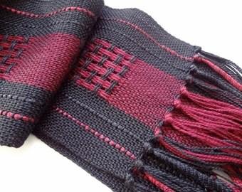 handwoven black and burgundy rayon scarf sale