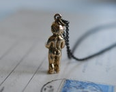 Frozen Charlotte miniature doll necklace - penny doll - penny baby - bronze antique doll jewelry