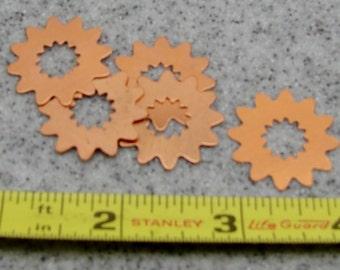 24.6mm Copper Flower 24 Gauge  Pack of 5