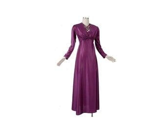Vintage 70s Dress - Purple Dress - Purple Gown - 70s Disco Dress - 70s Maxi Dress - 70s Jersey Dress - Dress Set - XS Dress - 70s XS Dress