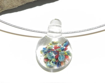 TINY Hand made borosilicate glass pendant, red, blue and clear by Misty Creek Studio Artist Terry Sieber