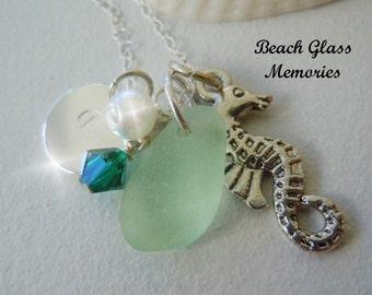Sea Glass Necklace - Personalized Sea Foam Beach Glass Necklace Seaglass Jewelry Charm Necklace
