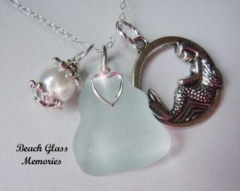 Sea Glass Jewelry Mermaid Necklace Aqua Beach Glass Necklace Pendant Seaglass Jewelry