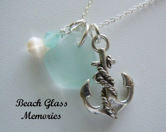 Light Aqua Sea Glass Necklace - Anchor Seaglass - Pendant Necklace Beach Glass Jewelry
