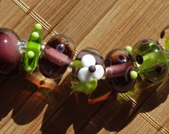 Purple and Lime Mixed Bead Set----Handmade LAMPWORK Beads