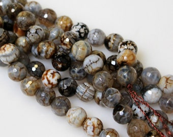 Agate Round Faceted 10 mm Beads