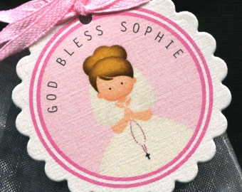 25 Personalized Communion Favor Tags - First Communion Tags - First Holy Communion - Religious Tags - Communion Girl - Light Hair