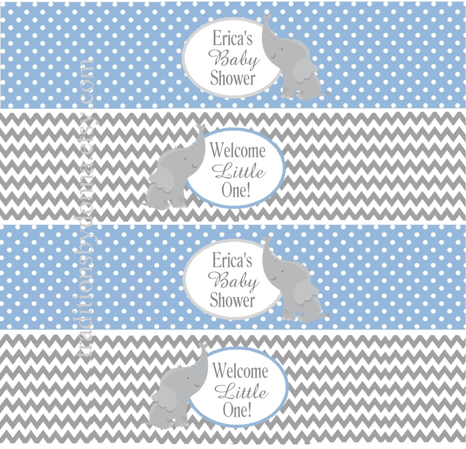 BABY SHOWER WATER Bottle Labels Blue and Gray Chevron