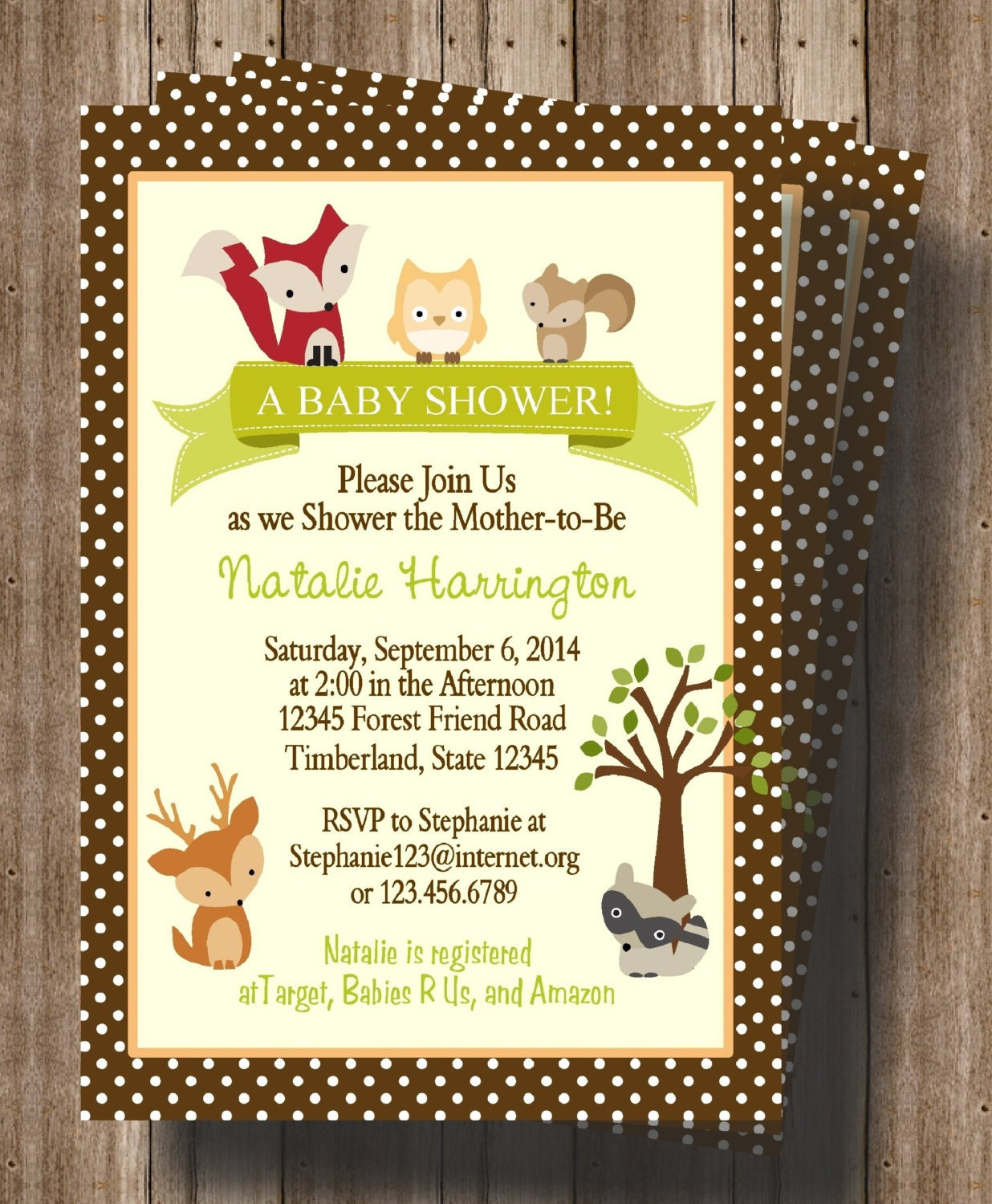 woodland animals baby shower invitation forest animals