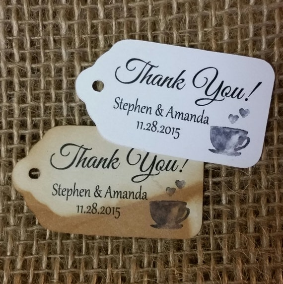 """Thank You COFFEE TEA Party favor tag Choose your quantity SMALL 2"""" Favor Tag"""