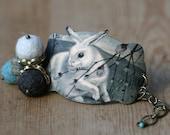 Snow Bunny Aqua Grey Rabbit Cuff Bracelet, Woodland Bracelet, Green Blue Grey Bracelet, Bunny Lover Jewelry, Rabbit Jewelry, Shrink Plastic