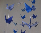 "34 Small Origami Cranes Mobile - Spiritual Comfort, 34 cranes folded from 3"" paper, 22 Patterned and 12 Solid in Blue Shade, Home Decor"