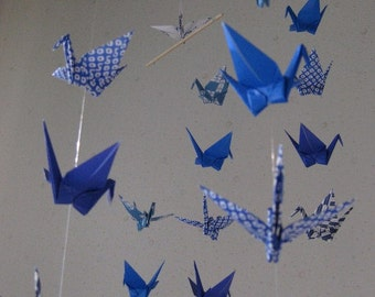 "34 Small Origami Cranes Mobile - Spiritual Comfort, folded from 3"" paper, 22 Patterned and 12 Solid in Blue Shades, Home Decor, Nursery"