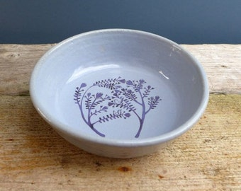 Blue Fruit Bowl with Indigo Birds in Bush