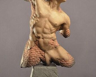 Architecture, brick male ceramic figure sculpture Centurion Fragment