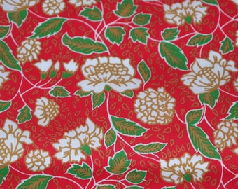 vintage 70s cotton fabric, featuring great asian-influenced floral print, 1 yard, 2 available priced PER YARD