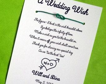 Cupid's Arrow - A Wedding Wish - Infinity Knot Wish Bracelet Wedding Favor Custom Made for You