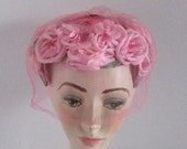 Pink Roses Hat with Veil . Pink Roses Topper . veiled topper . pink roses topper