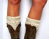 Boot Cuffs, Leg Warmers, Beige, Tan, Linen, Boot Socks, Boot Cuffs, Shoe Cuffs, Boot Topper, Boot Cuff- BUY one get one HALF OFF