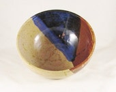 Pottery Medium Bowl, Abstract Design with Blue & Brown Glaze
