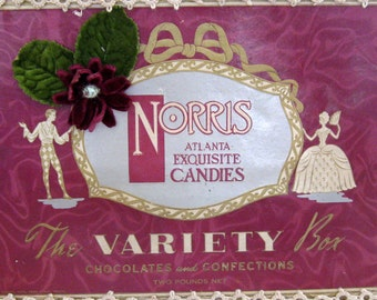 Norris Candy Box Chocolate Valentine's Day with Velvet Rose