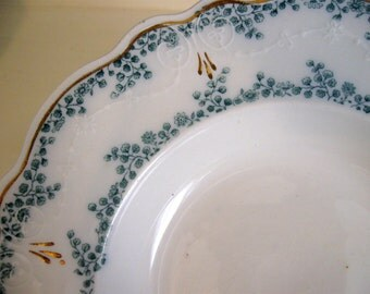 Vintage W H Grindley Green Transferware Soup Bowl With ALDINE Pattern Made 1880s To 1900s