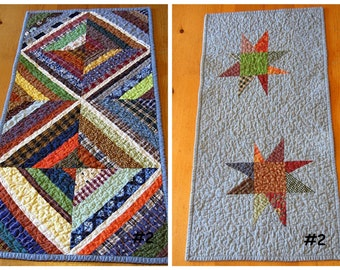 "kaleidoscope / star reversible - - table runner - - 15"" x 33"" ready to ship"