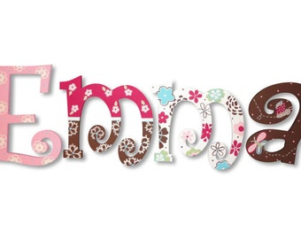Pink Brown Floral M2M Taffy Bedding Custom Hand Painted Wood Wooden Nursery Hanging Wall Letters Baby Name Sign