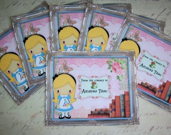 ALICE in Wonderland  BOOKPLATES - Personalized - Made to order - Custom -  Set of 12 - Self Adhesive Stickers - ABP 77878