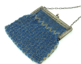 Sky Blue Vintage Beaded Bag