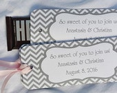Personalized Chevron Wedding Favors | Candy Bar Wrappers