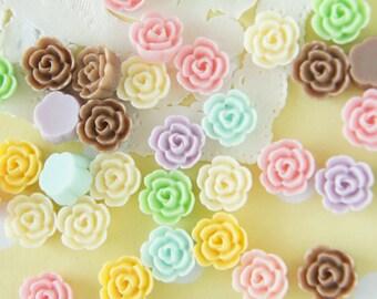 8 pairs (16 pcs ) Pastel Matte Finished Tiny Rose Cabochon (10mm)  FL393