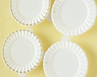 4 pcs White Dish Plate Charm/Cabochon (40mm) DR154  A Set