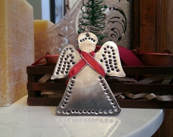 Angel Tin Ornament Tin Punch Old Fashioned Christmas Hand Cut By West Tinworks
