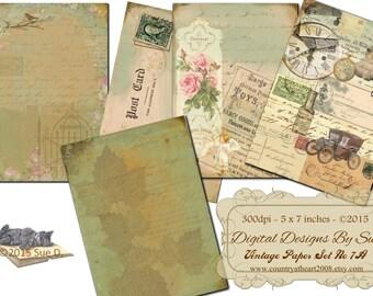 Instant Download - Vintage Paper Pack 7A -  Printable Digital Collage Sheet - Digital Download