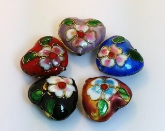 One Cloisonné Puffed Heart Bead - 4 Colors to Choose From