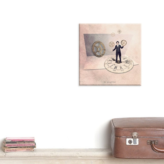 Canvas Gallery Wrap, Wall Art Canvas, Photo Canvas Prints, Steampunk, Figure photography, Steampunk decor, Watch, The juggler, Circus party