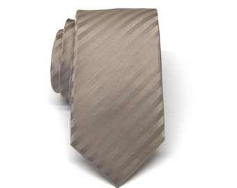 Men's Tie. Skinny Tie. Brown Taupe Stripes Skinny Necktie